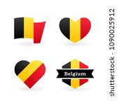 belgian flag and other national ... | Shutterstock .eps vector #1090025912