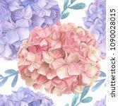 hydrangea watercolor seamless... | Shutterstock . vector #1090028015