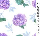 hydrangea watercolor seamless... | Shutterstock . vector #1090028018