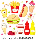 set of cute fast food icon in... | Shutterstock .eps vector #1090028882