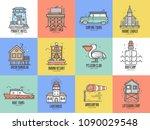 beach resort logo and labels...   Shutterstock .eps vector #1090029548