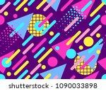 memphis seamless pattern....   Shutterstock .eps vector #1090033898