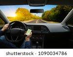 man hand using gps navigation... | Shutterstock . vector #1090034786