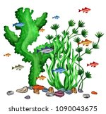 watercolor fishes  sea weed ... | Shutterstock . vector #1090043675