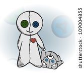 voodoo doll holding a teddy... | Shutterstock .eps vector #109004855