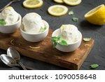 lemon ice cream in bowl.... | Shutterstock . vector #1090058648