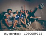 group of young friends watching ... | Shutterstock . vector #1090059338