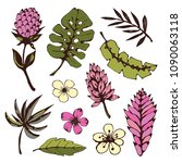 tropical  flowers  leaves. hand ... | Shutterstock .eps vector #1090063118
