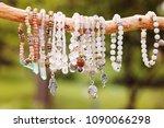 natural bead bracelets hanging... | Shutterstock . vector #1090066298
