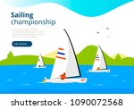 sea sailing championship. yacht ... | Shutterstock .eps vector #1090072568