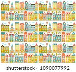 vector file with cute city ... | Shutterstock .eps vector #1090077992