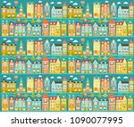 vector file with cute city ... | Shutterstock .eps vector #1090077995