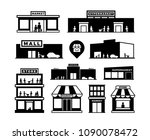 shopping mall buildings icons.... | Shutterstock .eps vector #1090078472