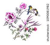 watercolor birds on the... | Shutterstock . vector #1090081982