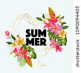 hello summer floral poster with ... | Shutterstock .eps vector #1090094405