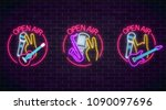neon open air signs collection... | Shutterstock .eps vector #1090097696