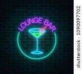 neon lounge cocktails bar sign... | Shutterstock .eps vector #1090097702