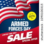 armed forces day sale banner... | Shutterstock .eps vector #1090100315