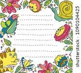 cat  snail  bird. flowers and... | Shutterstock .eps vector #1090104425