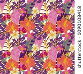 seamless pattern with tropical... | Shutterstock .eps vector #1090108418