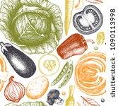 healthy food vector background... | Shutterstock .eps vector #1090113998