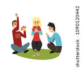 two men and girl playing cards  ... | Shutterstock .eps vector #1090120442