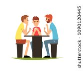 friends playing cards sitting... | Shutterstock .eps vector #1090120445