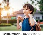 a little boy go to school in...   Shutterstock . vector #1090121018