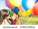 happy child and mom playing... | Shutterstock . vector #1090124816