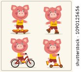 set of isolated funny pig on... | Shutterstock .eps vector #1090125656