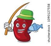 fishing spleen mascot cartoon...   Shutterstock .eps vector #1090127558