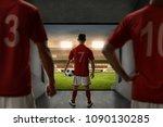 soccer players team standing on ...   Shutterstock . vector #1090130285