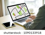 gps map to route destination... | Shutterstock . vector #1090133918