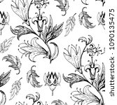 vintage floral black and white... | Shutterstock .eps vector #1090135475