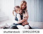 happy loving family. mother and ... | Shutterstock . vector #1090135928