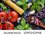 tomatoes basil garlic and... | Shutterstock . vector #1090142948