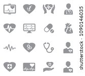 heart icons. gray flat design.... | Shutterstock .eps vector #1090146035