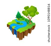 isometric island with blue...