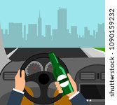 man using alcohol while driving ... | Shutterstock .eps vector #1090159232