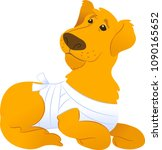 sick sitting dog with bandage....   Shutterstock .eps vector #1090165652