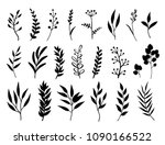 set of black branches and herbs | Shutterstock .eps vector #1090166522