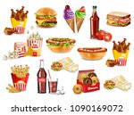 fast food meals set collection... | Shutterstock .eps vector #1090169072