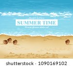 beach shore summer card vector. ... | Shutterstock .eps vector #1090169102