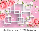 Pink Flowers With Rectangular...