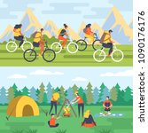 camper people cards  tourists... | Shutterstock .eps vector #1090176176