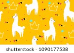 lovely llamas  cute hipster... | Shutterstock .eps vector #1090177538