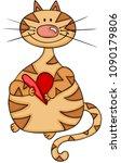 cute cat holding a heart  | Shutterstock .eps vector #1090179806