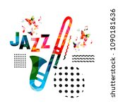 music colorful background with... | Shutterstock .eps vector #1090181636