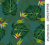 tropical seamless pattern with... | Shutterstock .eps vector #1090195958