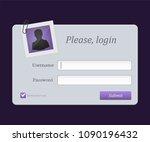 login form menu with avatar... | Shutterstock .eps vector #1090196432